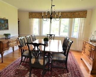"""Stickley """"Cherry Valley"""" Double Pedestal Dining Table and Sideboard (right)  and Statton Sideboard on left."""