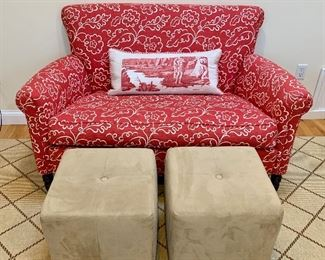 Small Patterned Settee, two small foot rests