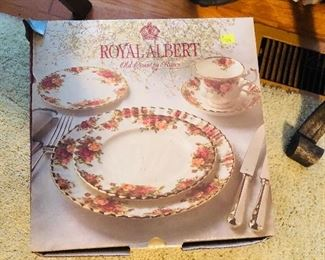 One of two boxes of Royal Albert never used China sets