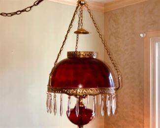 vintage hanging red coin dot chandelier