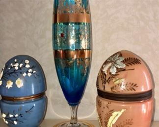Moser teal blue optic Crystal vase with gold accents, pink and blue hinged egg caddy's with complete brandy set in each.