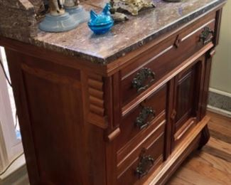 Marble top walnut Eastlake style wash stand