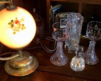 small Victorian electric lamp, rummers, small vases