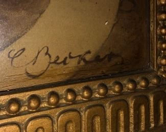 Autograph of Renaissance period 19th century painting or etching, in a 19th century Wood frame.  We have posted addition photos of this piece.