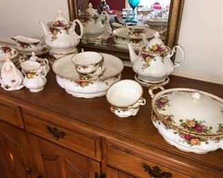 Old country Rose China serving pieces and cold soup bowls