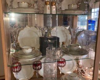 Haviland gold rim china, Waterford crystal, optic glass crystal.