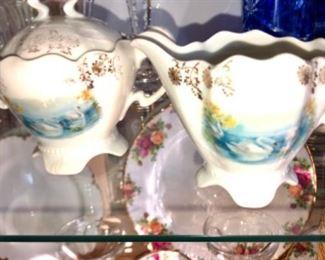 antique swan china sugar and creamer