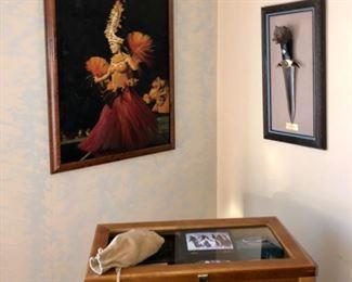 Island art with handmade frames of koa wood, American Indian items and knife storage case