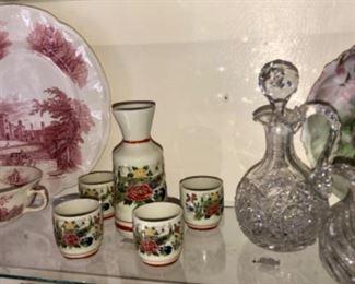 Victorian China, antique Saki set, antique cruets