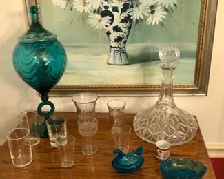collection of crystal glasses.