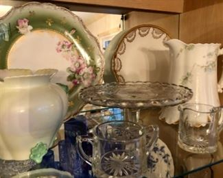 Collection of antique Heisey and china pieces