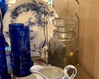 antique blue and white china creamer.