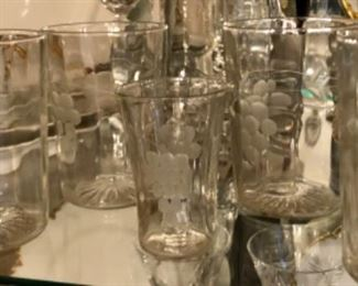upclose shot of optic glass etched tumblers.