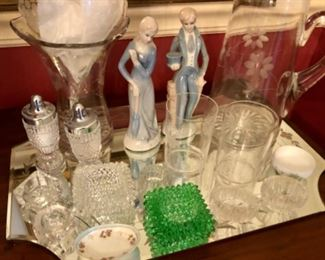 collection of antique salt cellars.  Optic glass etched glasses, vase and pitcher.
