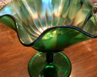 Emerald green carnival glass compote