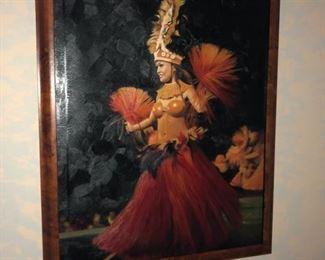 Hawaiian island dancer In handmade Koa wood frame
