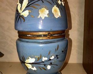 antique blown glass brass Blue painted egg decanter liquor tantalus shot set Bar