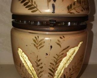 antique blown glass brass Pink painted egg decanter liquor tantalus shot set Bar