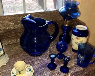 collection of cobalt blue items