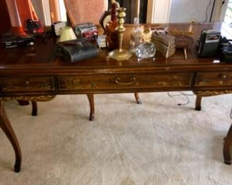 Drexel leather top ladies writing desk and matching chair.