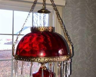 Red coin dot handing lamp