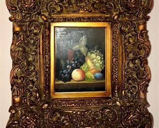 lighted 8/10 oil on canvas with modern era wide gold frame.