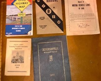 various Ohio related items including a 1937 one hundred year history of Jeffersonville Indiana