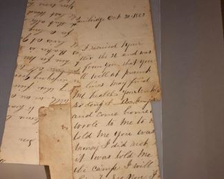 1863 letter in sections.  Edges good and crisp.  Literately it fell apart at the folds.