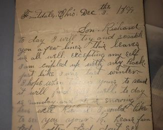 1899 hand written letter, speaks of how large the crowd was in the town due to the Spanish fleet.