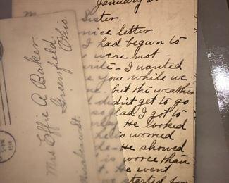 1918 handwritten letter and envelope