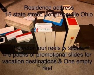 Slide show from late sixties to 1975.   The family residence 15 State Street, Jeffersonville Ohio.  The slides are from mid-century New York, Fall in the north East and Virginia.  All reels are labeled but one.