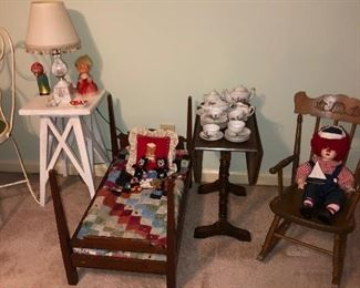 1920 walnut pencil post doll-bed and old collectible toys