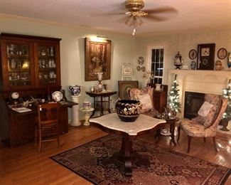 Room photo of main living space.  Filled with antiques