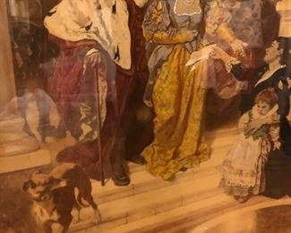 Renaissance period 19th century painting or etching, in a 19th century Wood frame.  We have posted addition photos of this piece.