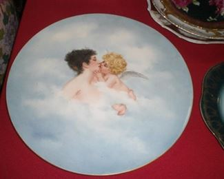 lg. Limoges hand painted charger with Cupid and Psyche