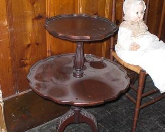 Chippendale style dumb waiter table with Spanish feet and pie crust edge