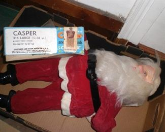 "20"" vintage Santa figure, 1960s Casper the friendly ghost Halloween costume complete with box"
