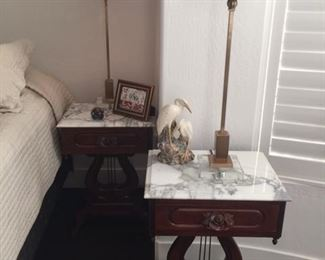 2 Mahogany nightstands; marble tops