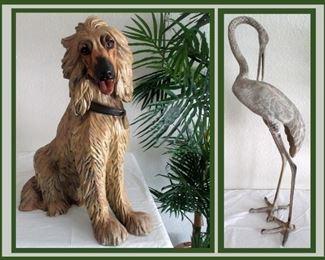 Large Precious Dog and Heron Statue