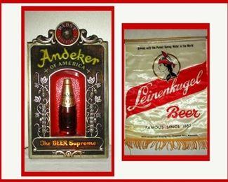 Vintage Lighted Andeker Beer Sign and Leinenkugel Beer Banner