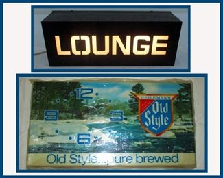 Lighted Lounge Sign and Old Style Lighted Beer Sign with Clock