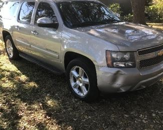 2008 Chevy Suburban LTZ - Loaded, One Family Owned-Leather-Quad Captains-Sunroof-DVD-Heated & Cooled Front and Rear Seats-Nice Car Mechanically w/125K Miles-Older Couple Owned, Has a few bumps and bruises on the outside.