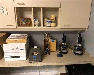 microscopes and vintage vinyl