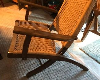 Hans Wegner-style rope chairs (2)