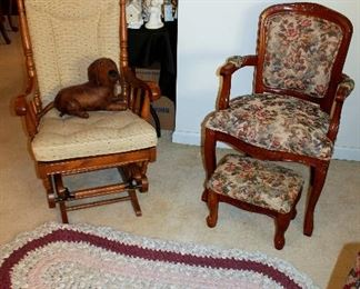 Glider rocker, armchair with footstool, oval rug
