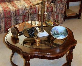 Glass-top coffee table, Italian brass / marble scales
