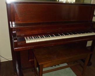 Upright Krell piano w/mirror & bench