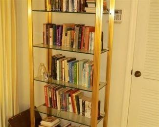 7' Brass book case lit w/glass shelves