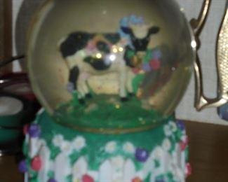 cow snow globe