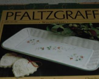 Pfalzgraff porcelain wicker tray in box